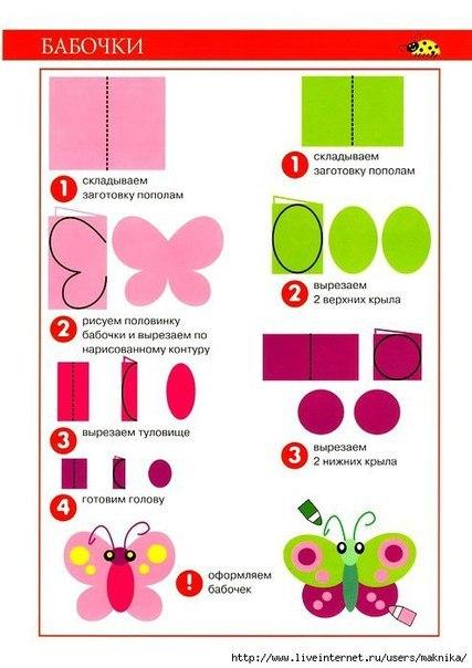 Бабочки из бумаги схемы шаблоны для детей